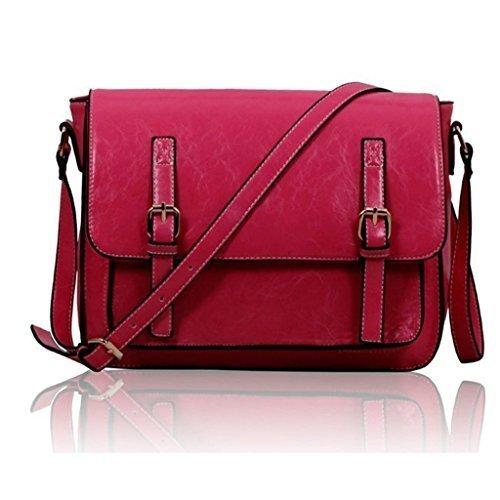 Frauen Faltenbeutel Herren Messenger Faux Aufschäumen Damen Handtaschen Crossbody Neue Rosa S1