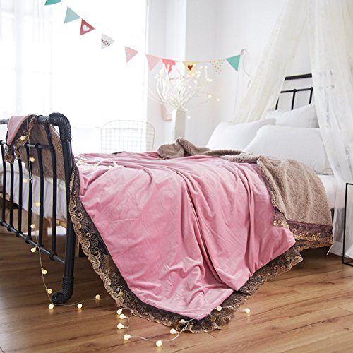 Tbslee Werfen Sie Decke Luxus Doppel-Schichtdicken 200 X 230Cm Weiche Warme Thermische Flanell Stickerei Spitze Freizeit Für Bett Couch Stuhl Büro Auto Und Zu Hause,Pink -