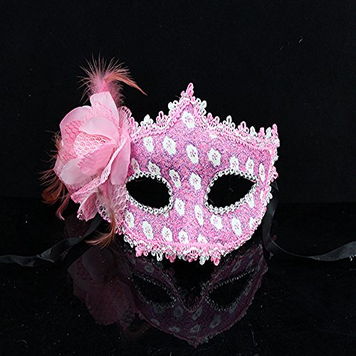 Rose Blumen Halloween Dance Party Princess Maske Venedig Light Pink (Halloween Retribution)