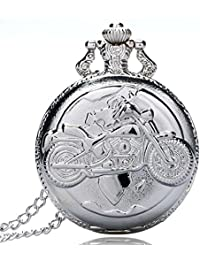 "Dice Pocket watch-C211"" Unisex Antique case Classic Vintage Rib Chain Quartz, Steel Gray Metallic Tone. Outer Body Shows Embossed Bike"
