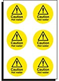 Caledonia Signs 56098 Caution Hot Water, 65 mm Diameter (Pack of 6)