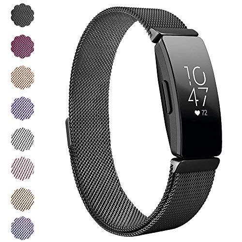 """KIMILAR Kompatibel Fitbit Inspire & Inspire HR Armband Metall, Ersatz-Armbänder Verstellbare Metal Band Magnet Armband für Fitbit Inpsire & Inspire HR Fitness-Tracker (6.1\"""" - 9.9\"""", Schwarz)"""