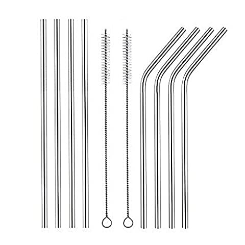 8pcs Stainless Steel Drinking Straws Reusable Smoothie Straws with 2 Cleaning Brushes for 30 Oz Yeti Cups and