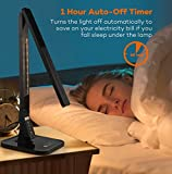 TaoTronics Desk Lamp, LED Desk Lamp with USB Charging Port, 4 Lighting Mode with 5 Brightness Levels, Timer, Memory Function, Black Bild 6