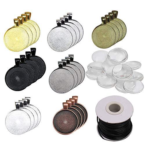 Anhänger Set (35Pcs) mit Glaskuppel (35Pcs) - Cabochon Rohlinge mit Nylonschnur 7 Farben Runde Transparenten Glaskuppel Fliesen - Ideal für Schmuckherstellung, Handwerk, Halskette, Schlüsselanhänger (Medaillon Antik-glas)