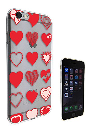 c0198-Different Shapes Red Love Hearts Coque iPhone 6Coque de protection Case Gel Rubber 6S Fashion Trend Coque de protection Silicone design