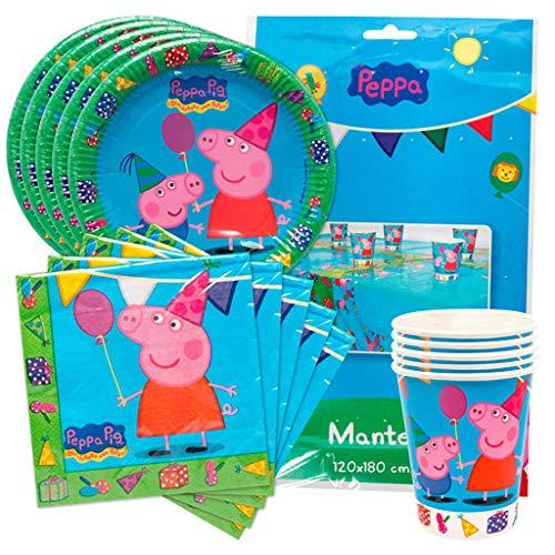 KP Peppa Pig Pack Platos, Vasos, servilletas y Mantel de Fiesta de cumpleaños para 16 niñas/os.