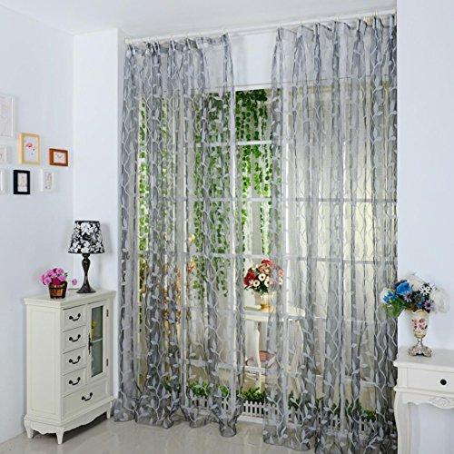 LCLrute Leaf Sheer Vorhang Tüll Fenster Behandlung Voile Drape Valance 1 Panel Stoff (Grau) (Ein Panel-grau-vorhänge)