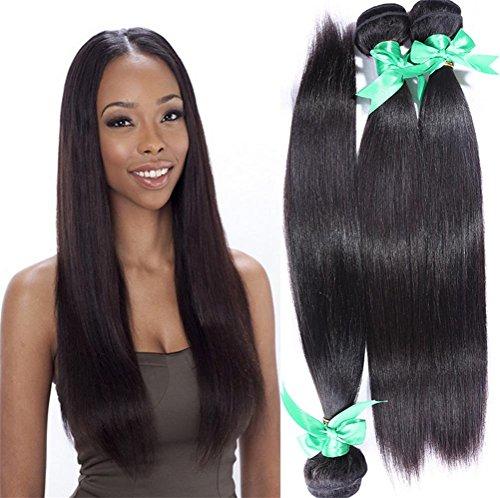 Meylee 3 Lots Cheveux Droits 7A Grade Inde Cheveux Humains Trame Couleur Naturelle Plein tête 300g Cheveux tissés, 20 22 24