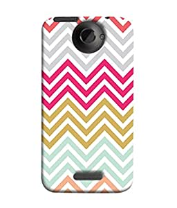 HTC One X, HTC One X+, HTC One X Plus, HTC One XT Back Cover Bright And Colorful Zig Zag Wave Stripes Design From FUSON