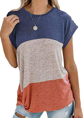 Avasags Sommer Bluse Shirt Kurzarm Rundhals Farbblock Oberteile Lose Lässige Tops T-Shirt Hemd (Blau, 2XL) -
