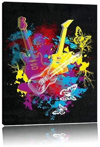 Dark Guitare éclaboussures noir image image de toile sur la toile, énorme XXL Photos complètement encadrée avec civière, art impression sur murale avec cadre, moins cher que la peinture ou la peinture à l'huile, aucune affiche ou un poster taille: 100x70 cm