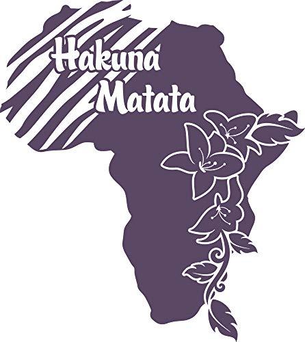GRAZDesign Wandposter Wandsticker Wanddeko Hakuna Matata - Wandaufkleber Klebefolie Afrika Spruch - Wandtattoo Kontinent Landschaft Afrikanisch / 34x30cm / 582 Bishop Purple