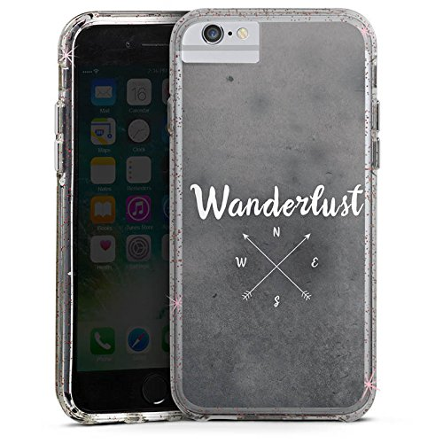 Apple iPhone 7 Plus Bumper Hülle Bumper Case Glitzer Hülle Wanderlust Kompass Reise Bumper Case Glitzer rose gold