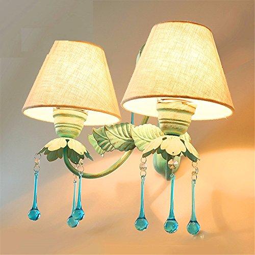 LIYANE299902017 Nachttischlampe Wandleuchte Schlafzimmer mediterrane Garten Bügeleisen Art Floral light Princess zimmer Treppe Wandleuchten, Dual Head blau Anhänger mit 3 Watt LED-Lichtquelle -