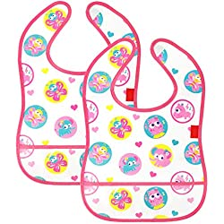 COM-FOUR® 2 baberos para bebés, impermeables y lavables con velcro y bolsillo transparente en la parte inferior (2 piezas - rosa)
