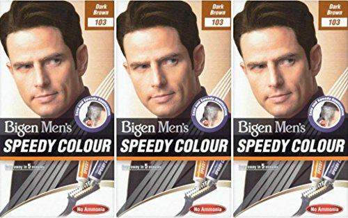 THREE PACKS of Bigen Mens Speedy Hair Colour 103 Dark Brown