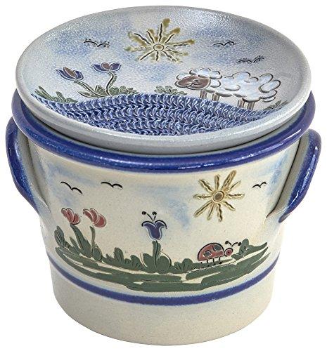 Original westerwälder Kannenbäckerland salzglasierte Steinzeug Keramik Knoblauchtopf mit Knoblauchreibe als Deckel (onesize, Heile Welt)