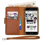 iPhone 6S Echt Ledertasche Hülle. Ed Hicks ROYALE iPhone 6 Case - Der EINZIG 3in1 Brieftasche mit VOLLBREITE BARGELD TASCHE - 3 Kartenfach - 2. Tasche - Trageschlaufe- Uralt Braun Leder