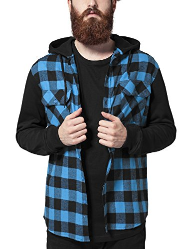 Urban Classics Herren Freizeithemd Hooded Checked Flanell Sweat Sleeve Shirt Mehrfarbig (blk/tur/bl 288)