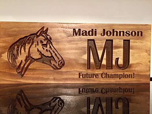 Stan256Nancy Personalisierte Holz Schilder Western Rustikal Bedrucktes Holz Schild Holz Logo Schilder mit Pferd Silhouette Tolle Geschenkidee Holz Wand Art Ranch Primitiv Decor -