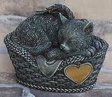 Katzen Urne grau als Katzen-Engelfigur und Gravurplatte, Tierurn
