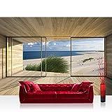 Fototapete 368x254 cm PREMIUM Wand Foto Tapete Wand Bild Papiertapete - Architektur Tapete Terrasse Balkon Fenster Holzwand Strand Meer Wolken Dünen beige - no. 1530