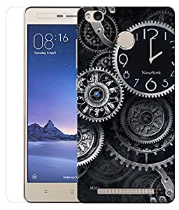 Indiashopers Combo of Wall Clocks HD UV Printed Mobile Back Cover and Tempered Glass For Xiaomi Redmi 3s Prime
