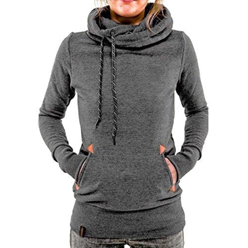 YuanYan Femme Hiver Sweats Hauts Manches Longues Sweats à Capuche Hoodie Tops Casual Pullover Gris