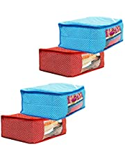 Amazon Brand - Solimo 4 Piece Cotton Mix Fabric Saree Cover Set with Transparent Window, Large, Blue and Red