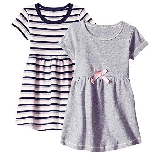 Baby-Mädchen Kleid/Dorical 2Pcs Mädchen Sommer Rundkragen Streifen Drucken Kurzarm T-Shirt Kleid Knielang 0-24 Monate(Grau+Schwarz,9-12 Monate)