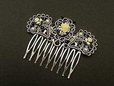 Peigne à cheveux avec des roses camée en argent noir