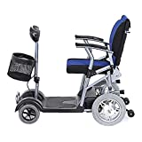 Lunzi Light and Compact, Foldable,4 Wheel Power Electric Travel and Mobility Scooter,46Cm Wide Seat,27Kg,Black Blue