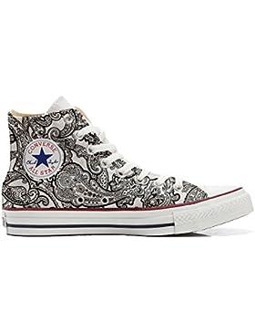 Converse All Star zapatos personalizadas Unisex (Producto Artesano) Black & White Paisley