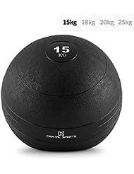 CAPITAL SPORTS Groundcracker Pelota de peso 15kg (Balón medicinal goma, relleno arena y hierro, lanzamientos sin rebote, superficie rugosa antideslizante, entrenamiento fuerza, velocidad, resistencia, coordinación, color negro)