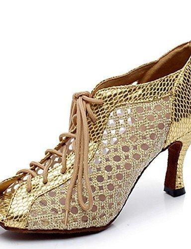 ShangYi Chaussures de danse(Noir / Argent / Or) -Non Personnalisables-Talon Aiguille-Cuir-Latine Black