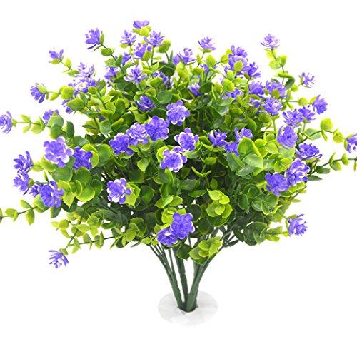 Beebel Fake Sträucher Künstliche Grün Pflanzen für Home Küche Esszimmer Aufhängen Pflanzgefäß Garten, 4Sets Violett