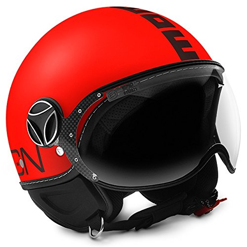 MOMO Design 10010040214 CASCO DEMI JET FIGHTER FLUO ARANCIO FROST NERO TAGLIA M