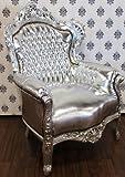 Barock Sessel King Silber/Silber Lederoptik - Möbel Antik Stil