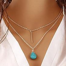 e48649f3eac0 Jovono Bohemia Collar multicapa Boho Joyería Collares de Capa con Turquesa  Colgante Cadena para Mujer