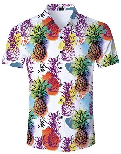 46d2213b9cee20 Loveternal Coloreada Hawaiana Piña Shirt Hombres Short Sleeve 3D Moda Playa  Camisetas Funky Funny Shirt L