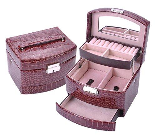 Cloud-Y Boîte à Bijoux Coffrets, Boîtes à Maquillage, Bijoux & Cosmétique Beauty Case pour Femme Fille Miroir(Taille:15.5x13x12.5cm) Cadeau (Noir) (Coffe)