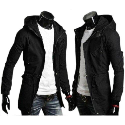 TOOGOO(R) NEUE Maenner lange Jacke Mantel beilaeufige Bekleidung mit Kapuze Armee Gruen Groesse XXL Schwarz