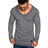 Plus Size Men T-Shirt, Xinantime Mens Autumn Casual Slim Fit V-Neck Long Sleeve T-Shirt Polo Shirts Top Hoodies Polo Blouse Clearance Sale Size M - 3XL