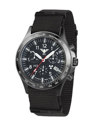 KHS Tactical Mens Watch Black Platoon Chronograph KHS.BPC.NB