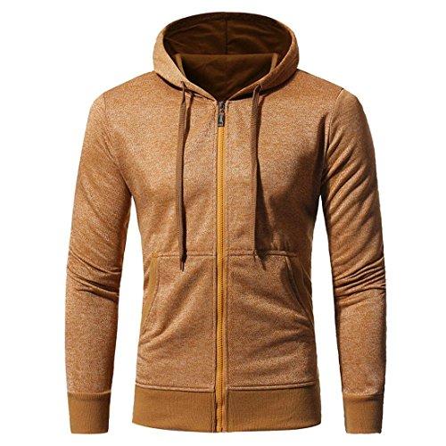 Preisvergleich Produktbild Herren Hoodie Mantel Btruely Winter Mode Männer Kapuzenpullover Langarm Mit Kapuze Mantel Männer Hooded Sweatshirt Retro Zipper Outwear (XL,  Gelb)