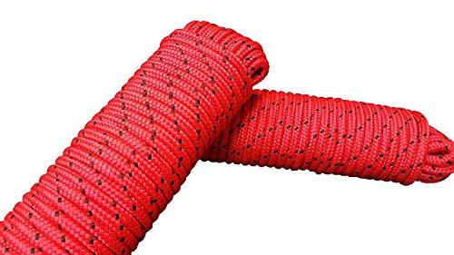 Seil 8 mm 40 m - 2 Stück-Set - Polypropylenseil PP, Festmacherleine, Allzweckseil, Strick, Gartenseil, Outdoor - Bruchlast: 700kg, 40m x 8mm (2x 20 m) 2er Set rot-schwarz