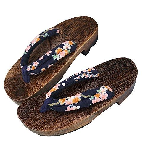 ZooBoo Japanische Clogs Sandalen Holzschuhe - Traditionelle Japanische Stile Heian Periode Geta Pantoffel Sommerschuhe Cosplay Samurai Rutschfest Flip-Flops für Frauen Männer - Holz (38-40, Schwarz)