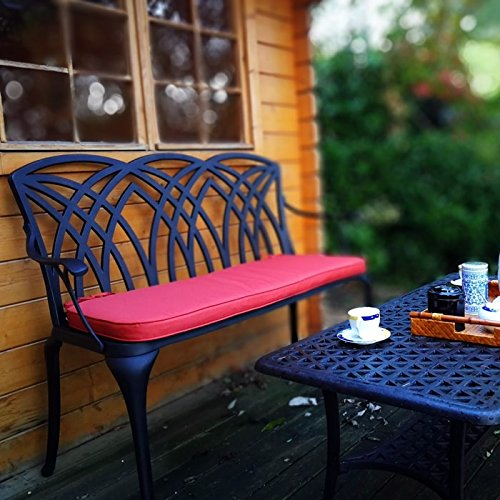 Lazy Susan - Table Basse de Jardin carrée Sandra et Banc April - Meubles en Aluminium moulé, Coloris Bronze Ancien (Coussin Terracotta)