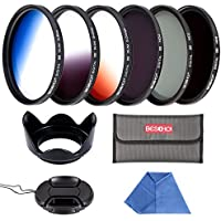 Beschoi - 55mm Filtro de Camára Lente, Packs de Filtros Fotográficos para Nikon Canon EOS DSLR Cámaras (10 PCS Incluye ND2 ND4 ND8 + Ultra Delgado Graduado Naranja Azul Gris + Aceesorios)